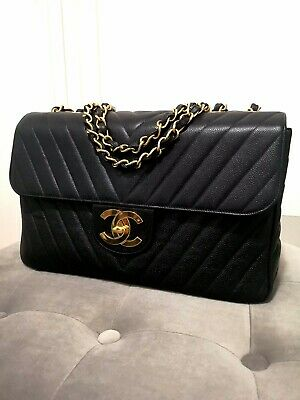 AU6000 • Buy Authentic Vintage CHANEL Jumbo 14  In Black Chevron Caviar Leather. Very Rare!!