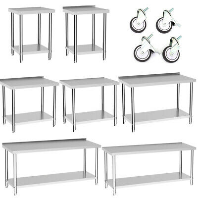 £205.95 • Buy Stainless Steel Commercial Catering Table Work Bench Food Prep Kitchen Top Wheel