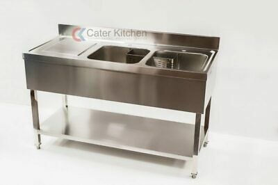 Stainless Steel Double Bowl Commercial Restaurant Catering Sink 1400mm X 600mm • 368£