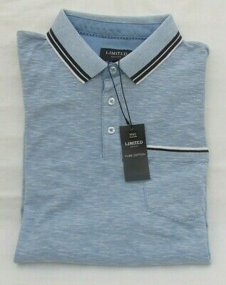 Men's Marks And Spencer Limited Blue Mix Short Sleeve Cotton Polo Shirt Size  L • 14.99£