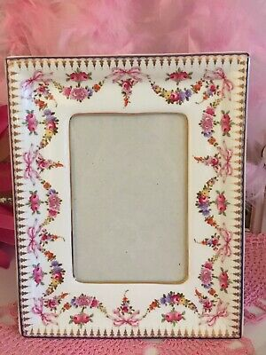 Past Times Porcelain Photo Frame With Roses Bows Garlands White With Pink • 45£