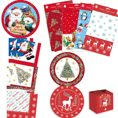 £2.99 • Buy Christmas Festive Party Tableware Paper Plates Napkins Table Cover Traditional