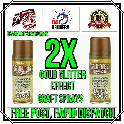 2x Gold Glitter Spray Paint Sparkling Finish Creative Christmas Wreath Craft Art • 9.99£