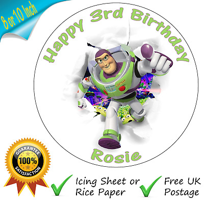 Toy Story Buzz Lightyear Cake Topper Personalised Edible Birthday Cake Topper • 3.50£