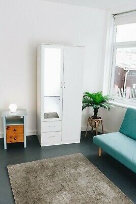 Beautiful Wardrobe With Drawers & Mirror Excellent Quality Extra Storages White • 149£