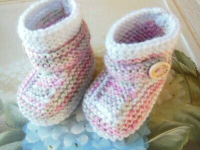 Knitted Baby Booties Boots Booties Shoes 3 - 6 Months Pink And Grey • 4.50£