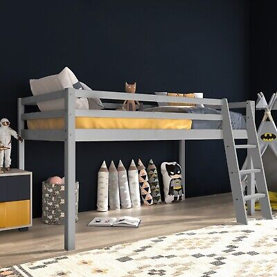Childrens Cabin Bed Single Bunk Beds Kids Loft Mid Sleeper Wood Bed Frame 3FT • 119.99£