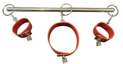Red Spreader Bar Restraint Handcuff Wrist Ankle Leg Cuffs Neck Collar Lockable • 14.99£