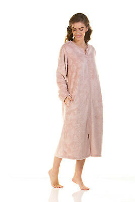 Ladies La Marquise Zip Front Soft Embossed Fleece Dressing Gown • 27£