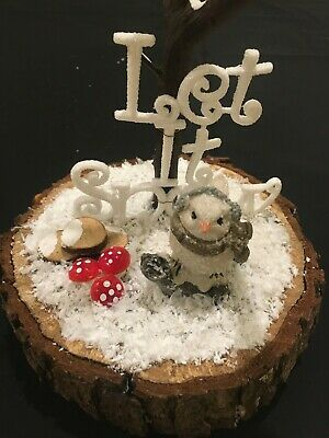 New Christmas Table Decoration Let It Snow Hand Made Tree, Snow & Bird • 9.99£