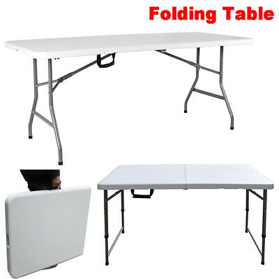 £47.21 • Buy Folding Table 6ft Portable Camping 5ft Picnic Exhibitions BBQ Laptop Table Tray