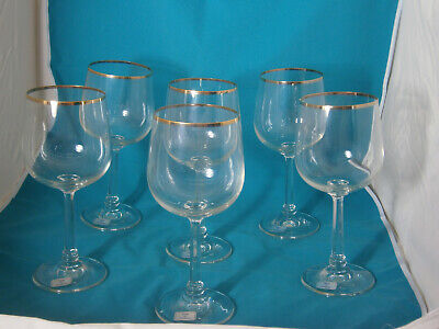 Crystal Wine Glass Goblet Gold Rim Germany Clear Lot 5 New • 28.20£