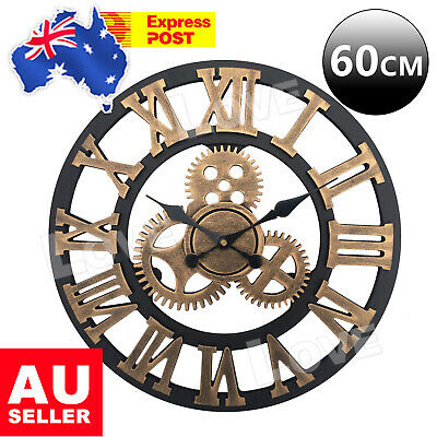 AU36.95 • Buy 60cm Large Handmade Clock Gear Wall Clock Vintage Rustic Luxury Art Home Decor