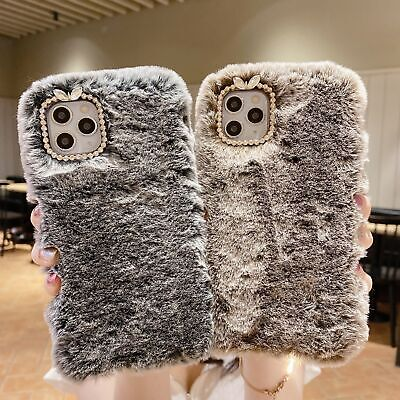 Soft Warm Plush Fluffy Phone Case Cover Comfy Faux Fur IPhone 12 11 Pro Max XR X • 4.99£