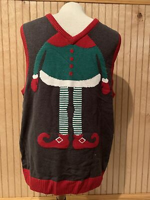 $14.95 • Buy Ugly Christmas Sweater, Men's Elf Sweater Vest, Black, Xmas Party Shirt X-Large