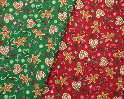 £3.15 • Buy Christmas Poly Cotton Fabric Gingerbread Man Sewing Material Roll Half Metre