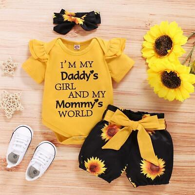 AU12.72 • Buy Newborn Baby Girl 3PCS Clothes Floral T Shirt Tops Outfits Shorts J6F8 Z1X7