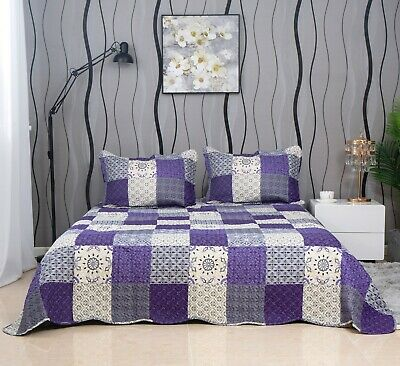 £27.96 • Buy 3 Piece Patchwork Bedspread Quilted Throw Double & King Size Printed Bedding Set