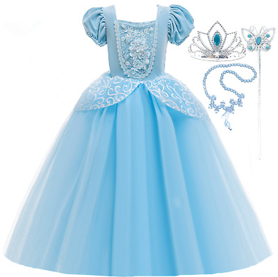 Disney Cinderella  Fancy Dress Dressing Up Costume Outfit & Tiara Age 4-10 • 16.88£