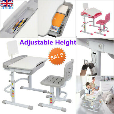 Height Adjustable Kids Study Desk Table Chair Lifting Set Children Learning UK • 83.99£