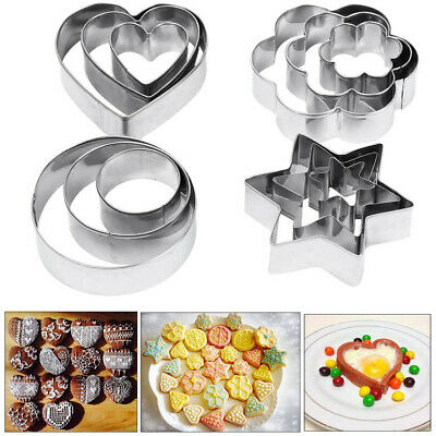 £3.99 • Buy Kids Sandwich Cutter Shapes Egg Cookie Biscuit Pastry Baking Stainless Steel X12