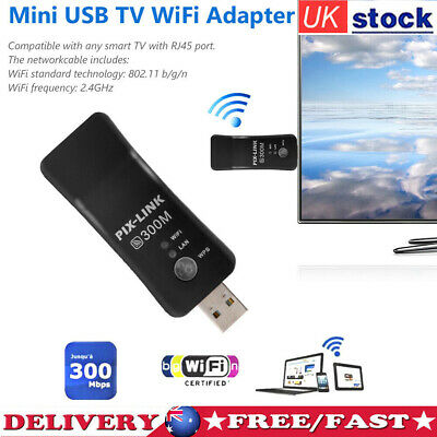 £9.91 • Buy USB WiFi Dongle Adapter 300Mbps Universal Wireless Receiver RJ45 For Smart TV
