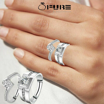 £3.99 • Buy Cute Couple Rings 925 Sterling Silver Filled Wedding Promise Engagement Rings