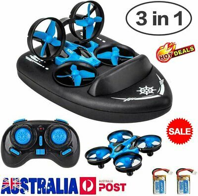 AU38.92 • Buy 3-in-1 Mini Drone For Kids Remote Control Boats For Pools Lakes Sea-Land-Air HI