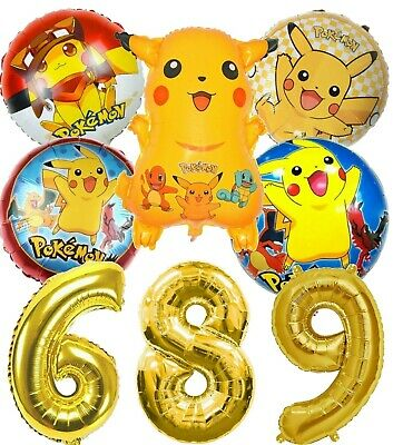 Pokemon Go Pikachu Helium Birthday Balloons Large Age Number Bumper Pack • 12.99£