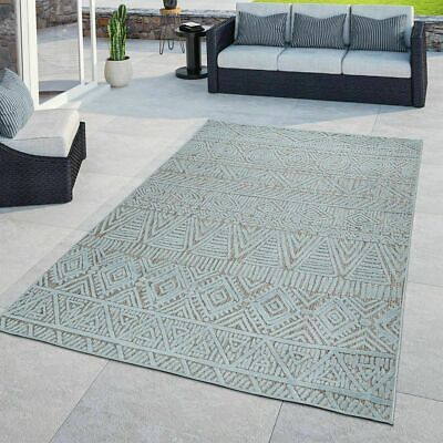 Ethnic Modern Rug Patio Kitchen Terrace Rugs Indoor Outdoor Light Blue Mats • 39.99£