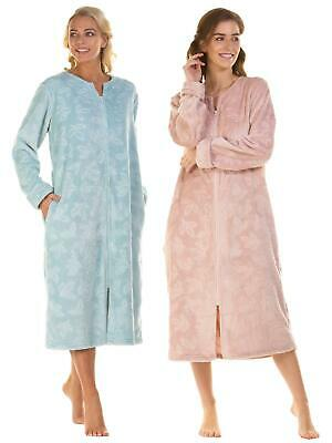 Super Soft Embossed Fleece Zip Front Dressing Gown Robe Size S M L XL XXL • 17.99£