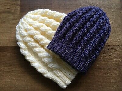 £2.40 • Buy Easy Knitting Pattern Cabled Dk Or Chunky Hat Duet