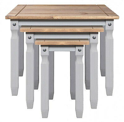 Corona Nest Of Tables Light Grey Pine Three Piece Set Lamp Side End Table  • 69.99£