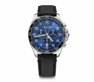 £244.50 • Buy Victorinox FieldForce Classic Chrono Blue Dial Leather Band Men's Watch 241929