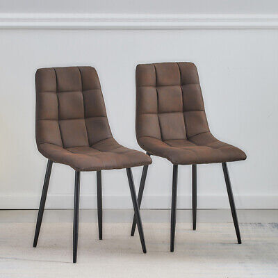 £89.99 • Buy 2X Brown Faux Leather/Suede Dining Chairs Padded Black Metal Legs Kitchen Office