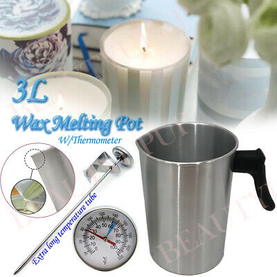 3L Wax Melting Pot Pouring Pitcher Jug Aluminium Candle Soap Make Thermometer • 9.09£