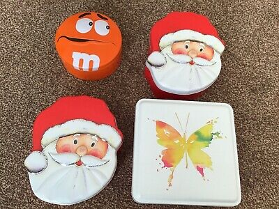 Used Empty Tins: Santa's Face & M&S Square Butterfly Tin - Fill With Sweets/gift • 3.25£