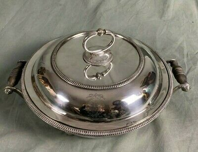 19th Century Anglo Irish Silver Plate Armorial Entree Dish And Cover W & GS • 120£