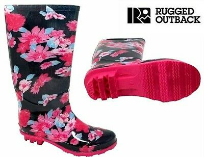 Rugged Outback Kids Girls Pink Navy Flower Wellies Wellington Welly Womens Shoes • 6.99£