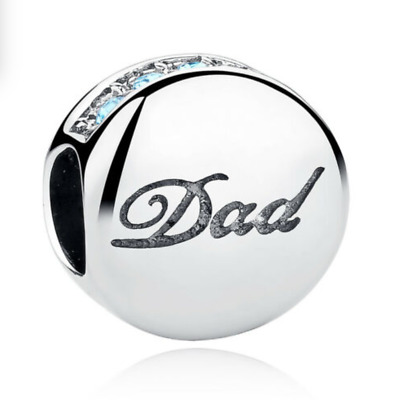 Dad Charm Silver I Love You Blue CZ CRYSTAL Stones Genuine XMAS Sale& Gift Pouch • 3.94£