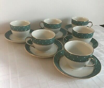 6 RIDGWAY 'CONWAY' GREEN  Coffee Cups & Saucers • 20£