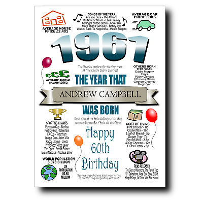 £2.95 • Buy PERSONALISED 60th BIRTHDAY CARD MALE 1961, CARDS FOR DAD BROTHER HUSBAND GRANDAD
