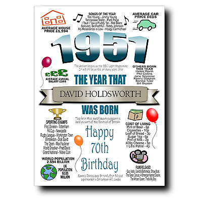 £2.95 • Buy PERSONALISED 70th BIRTHDAY CARD MALE 1951, CARDS FOR DAD BROTHER HUSBAND GRANDAD