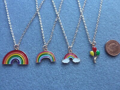 £3.99 • Buy Rainbow Enamel Charm Pendant Necklace 18  Rose Gold Plated Chain Baloons Gift