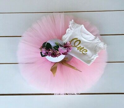 AU53 • Buy Pink & Gold Cake Smash Outfit First Birthday Tutu Flower Crown & Bodysuit