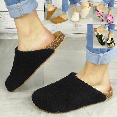Womens Slippers Mules Ladies Loafers Warm Bedtime Winter Louge House Grip Shoes • 10.95£