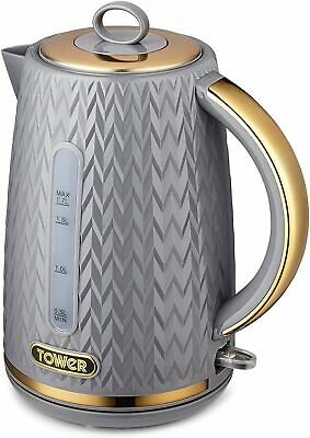 £19.99 • Buy Tower T10052GRY Kettle, Empire Range, 1.7L Capacity, 3KW, Grey With Brass Accent