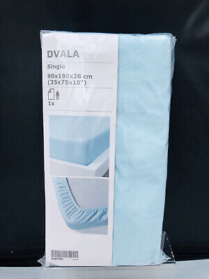 NEW IKEA DVALA Fitted Single Bed Sheet Cotton Light Baby Blue 90 X 190 X 26 Cm • 8.88£