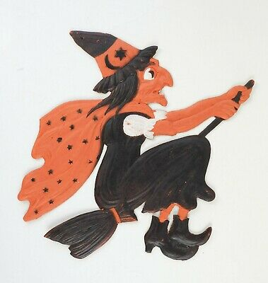 $ CDN164.05 • Buy Vintage Die Cut Halloween Witch On Broom Embossed Germany
