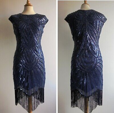 Blue Beaded 20s Vintage Style Dress Flapper Art Deco Great Gatsby Size 12 Or 14 • 29.99£